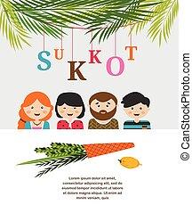 sukkot, juif, illustration, vecteur, ornements, sukkah, décoré, vacances