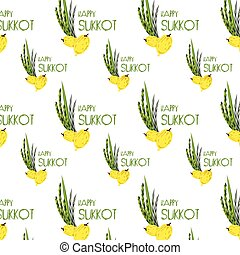 Sukkot pattern with Lulav ,Etrog, Arava and Hadas traditional symbols palm, citron, willow, myrtle. Jewish Holiday.