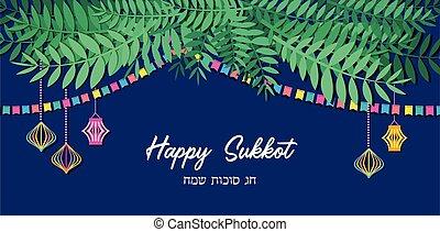 sukkot., sukkot, judío, sukkah, saludo, ilustración, tradicional, vector, hebreo, feriado, feliz