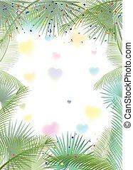 sukkot, ułożyć, drzewo, tropikalny, dłoń listowie