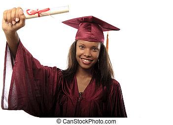 suknia, absolwent, samica, korona, kolegium