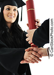 suknia, dyplom, absolwent, student, dziewczyna, odbiór