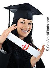 suknia, dziewczyna, dyplom, student, absolwent