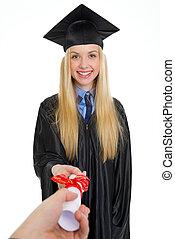 suknia, kobieta, młody, skala, dyplom, uśmiechanie się, odbiór