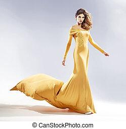 suknia, kobieta, wieczorny, pociągający, ubrany