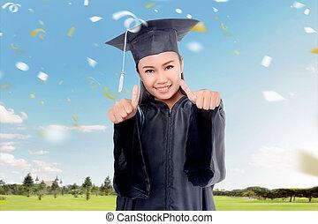 suknia, skala, pociągający, dziewczyna, kapelusz, świętować, asian