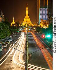 Sule Pagoda at night, Yangon, Myanmar