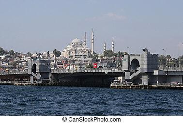 Suleymaniye Mosque and Galata Bridge in Istanbul City,...