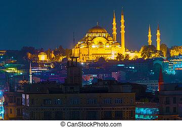 Suleymaniye Mosque at Istanbul Night