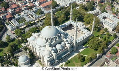 Suleymaniye Mosque wide View from above showing a huge temple in Istanbul