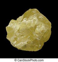 Crystal form of elemental sulfur (S) isolated on black