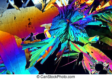 Sulfur Crystals - Sulfur crystals photomicrograph,Magnified...
