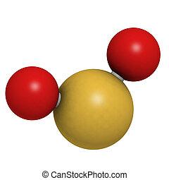 Sulfur dioxide (sulphur dioxide, SO2) gas, molecular model....
