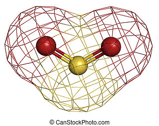Sulfur dioxide (sulphur dioxide, SO2) gas, molecular model....