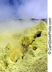 The galapagos south isabella crater, the second largest volcanic crater on the earth, contains a still active sulfur steam exit
