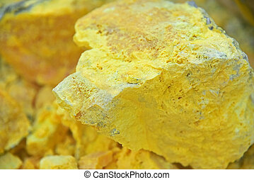 Sulfur from Kawah Ijen volcano crater, East Java, Indonesia