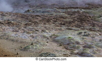 Sulfur fumaroles Hverir in Iceland - Panoramic view of...