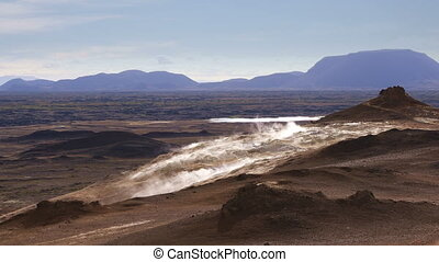 Sulfur fumaroles Hverir Namafjall in Iceland - Amazing view...