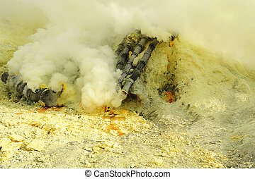 Sulfur - Gas pipeline for the mineral sulfur from the crater...