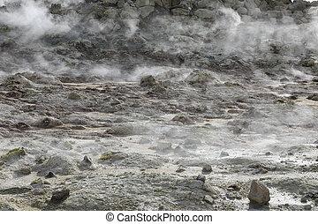 Detail of steaming fumaroles at Hverir geothermal area in north Iceland