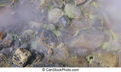 Sulfur hot fumaroles in Iceland - Detail of steaming...
