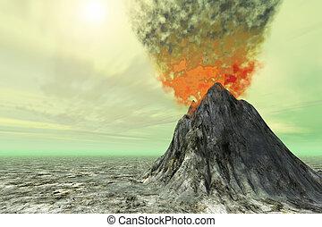 SULFUR SKIES - A volcano comes to life with smoke, ash and...