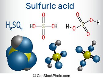 Sulfuric acid (sulphuric, H2SO4) molecule . It is strong mineral acid. Structural chemical formula and molecule model. Vector illustration