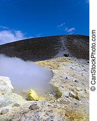 Sulfurous fumaroles, Vulcano, Lipari, Sicily, Italy