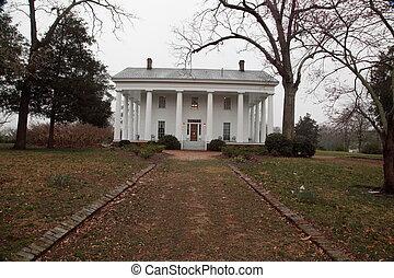 sulista, antebellum, casa plantação