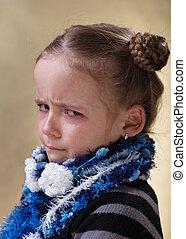 sulking, jong meisje, met, gehuil, in, haar, eyes