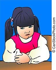 sulking toddler - illustration of a toddler portrait sitting...