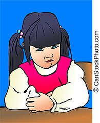 sulking toddler - illustration of a toddler portrait sitting...