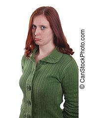sulking woman