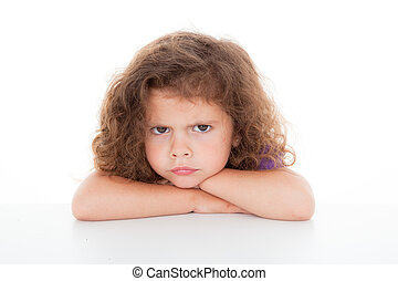 sulky angry child - sulky angry young girl child, sulking...