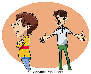 Cartoon-style illustration: a sulky whimsical boy next his irritated father