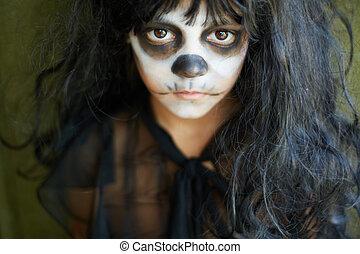 Sullen girl - Portrait of spooky girl in Halloween attire...