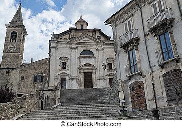 Popoli (L'Aquila, Abruzzi, Italy): facade of the Santissima Trinita, historic church