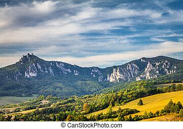 sulov, 山, 岩, slovakia., 予備, 自然