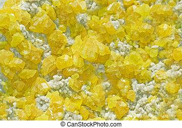 Sulphur Mineral Crystals - Photo of yellow sulphur crystals.