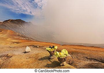 Sulphur - sulfur mining industry in Ijen volcano, Java, ...