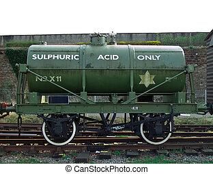 sulphuric, säure, schiene, tanker