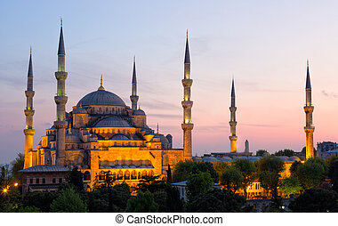 Sultan Ahmed Mosque (Blue Mosque) in Istanbul early in the...