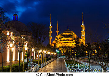 Sultan Ahmed Mosque (Blue Mosque) in Istanbul on night in...