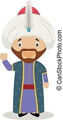 Sultan Mehmed II (The Conqueror) cartoon character. Vector...