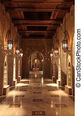 sultan, oman, arcade, grande mosquée, qaboos, muscat, ...
