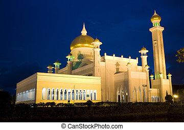 Night image of Sultan Omar Ali Saifuddien Mosque, Bandar Seri Begawan, Brunei.