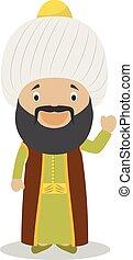 Sultan Othman I cartoon character. Vector Illustration.