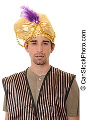 Sultan - Young sultan or sheik isolated over white