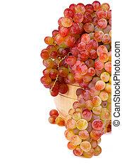 Sultana Grape - Bunch of Ripe Pink Sultana Grape in Wooden...