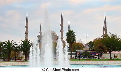 sultanahmet mosque and fountain in istanbul turkey